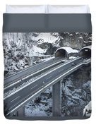 Higway Tunnel With A Bridge Duvet Cover