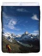 Hiker Admiring Cerro Torre And Fitzroy Duvet Cover