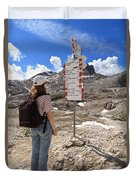 Hiker And Directions Duvet Cover
