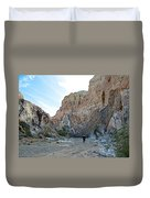 Hiker In Big Painted Canyons Trail In Mecca Hills-ca Duvet Cover