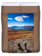 Hiker In Fall-colored Tundra Duvet Cover