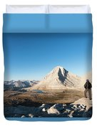 Hiker Looking Over Royce Lakes Duvet Cover