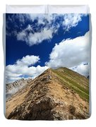 Hiker On Mountain Ridge Duvet Cover