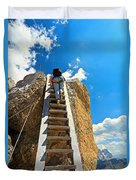 Hiker On Wooden Staircase Duvet Cover
