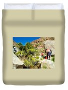 Hikers At Oasis On Borrego Palm Canyon Trail In Anza-borrego Desert Sp-ca  Duvet Cover