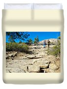 Hikers On Sentinel Dome Trail In Yosemite Np-ca  Duvet Cover
