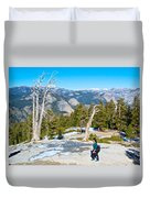 Hiking On Barren Rock On Sentinel Dome In Yosemite Np-ca Duvet Cover