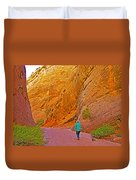 Hiking On Capitol Gorge Pioneer Trail In Capitol Reef National Park-utah Duvet Cover