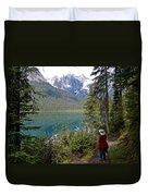 Hiking On Emerald Lake Trail In Yoho Np-bc Duvet Cover