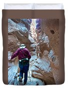 Hiking Through Narrow Slot Of Ladder Canyon Trail In Mecca Hills-ca Duvet Cover