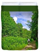 Hiking Trail Along Rivier Du Nord In The Laurentians North Of Montreal-qc Duvet Cover
