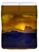 Hills In The Distance At Sunset Duvet Cover