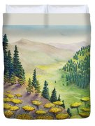 Hillside Of Yarrow Flowers With Pine Tress Duvet Cover