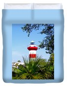 Hilton Head Lighthouse And Palmetto Duvet Cover