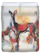 Hinds In Winter Duvet Cover