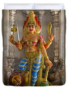 Hindu Goddess Durga On Lion Duvet Cover
