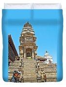 Hindu Temples In Bhaktapur Durbar Square In Bhaktapur-nepal Duvet Cover