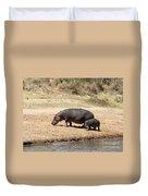 Hippo Mum And Calf Duvet Cover