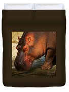 Hippo On The Waterfront Duvet Cover