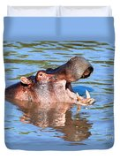 Hippo With Open Mouth In River. Serengeti. Tanzania Duvet Cover