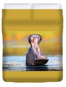 Hippopotamus Displaying Aggressive Behavior Duvet Cover