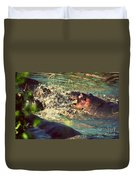 Hippopotamus Fight In River. Serengeti. Tanzania Duvet Cover