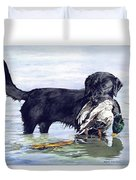 His First Catch Duvet Cover by Brenda Beck Fisher