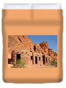 Historic Civilian Conservation Corps Stone Cabins In The Valley Of Fire Duvet Cover
