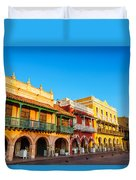 Historic Colonial Facades Duvet Cover