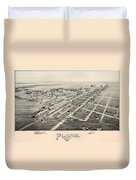 Historic Map Of Plano Texas 1891 Duvet Cover