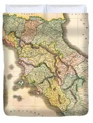 Historic Map Of Tuscany 1814 Duvet Cover
