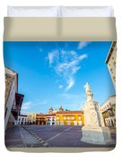 Historic Plaza In Cartagena Colombia Duvet Cover