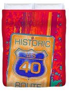 Historic Route 40 Pop Art Duvet Cover