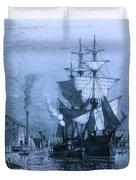 Historic Seaport Blue Schooner Duvet Cover by John Stephens