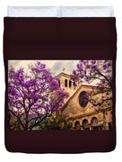 Historic Sierra Madre Congregational Church Among The Purple Jacaranda Trees  Duvet Cover