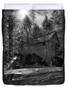 Historical 1868 Cades Cove Cable Mill In Black And White Duvet Cover
