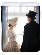 Historical Couple Standing By A Window Duvet Cover