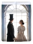 Historical Couple Standing In An Arched Window Duvet Cover