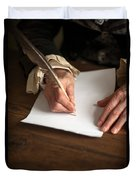 Historical Senior Man Writing With A Quill Pen Duvet Cover