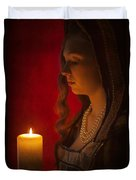 Historical Woman Holding A Candle Duvet Cover