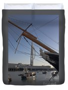 Hms Warrior Viewing The Spinnaker Tower Duvet Cover