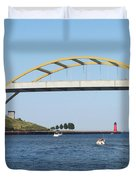 Hoan Bridge Boats Light House 1 Duvet Cover
