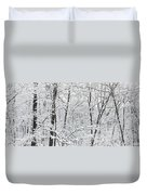 Hoar Frost Covered Trees In Forest Duvet Cover