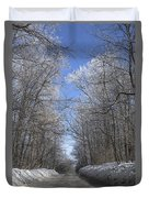 Hoar Frost On Campground Road Duvet Cover