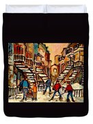 Hockey Game Near Winding Staircases Montreal Streetscene Duvet Cover by Carole Spandau