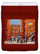 Hockey In The Laneway On Snowy Day Paintings Of Montreal Streets In Winter Carole Spandau Duvet Cover