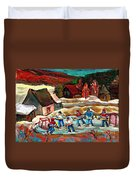Hockey Rinks In The Country Duvet Cover