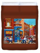 Hockey Stars At Wilensky's Diner Street Hockey Game Paintings Of Montreal Winter  Carole Spandau Duvet Cover