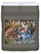 Hogdog And Hunter Duvet Cover