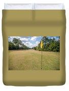 Hole Flag At A Golf Course Duvet Cover